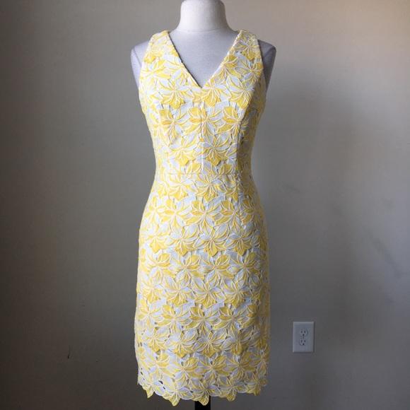 White House Black Market Dresses Tonal Lace Sheath Yellow White